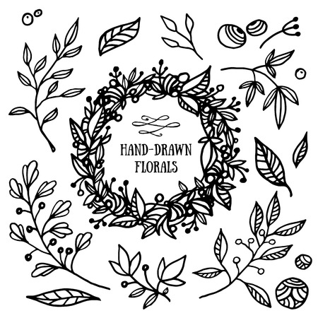 greeting card background: Hand drawn set of floral elements and wreath. Beautiful florals for your design Illustration