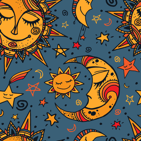 Tribal seamless pattern with sun, moon and stars. Hand-drawn background for your design. Great for wrapping paper, covers, textile print. Illustration
