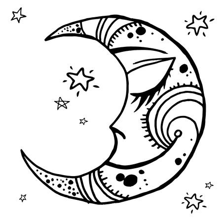 Hand-drawn illustration of tribal moon. Ornamental decor for your design