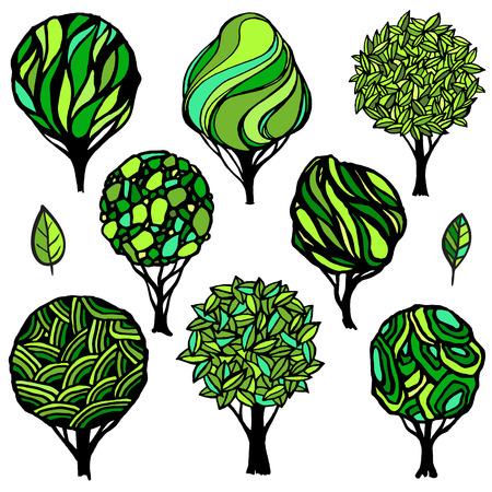 Handgetekende set van verschillende bomen. Zomer kleurenschema. Logo sjabloon.