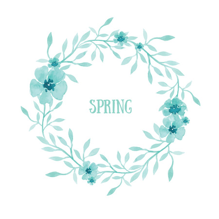 Cute spring hand-drawn wreath of watercolor flowers and plants. Save the date template
