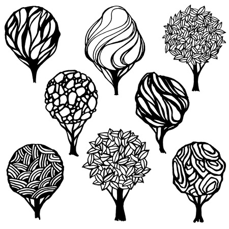 abstract tree: Hand-drawn set of various trees. Black and white stylized trees. Logo template.