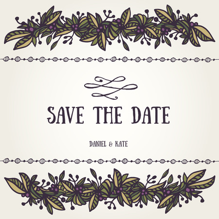 vintage border: Save the date card template with beautiful hand-drawn border