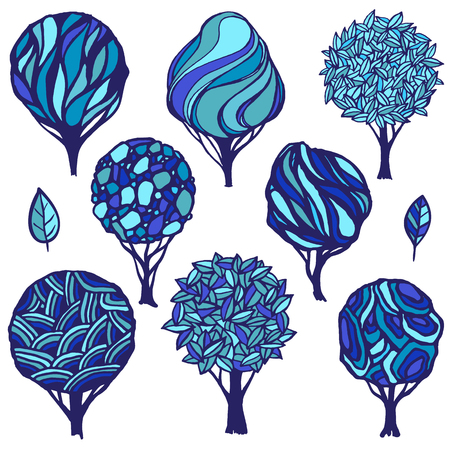 abstract tree: Hand-drawn set of various trees.Winter color scheme. Logo template.
