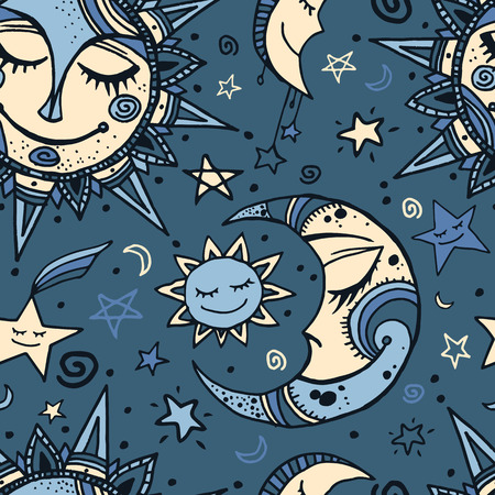 Tribal seamless pattern with sun, moon and stars. Hand-drawn background for your design. Great for wrapping paper, covers, textile print. 일러스트