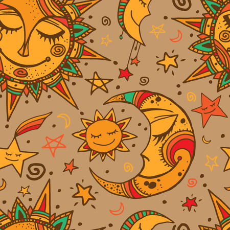 zon en maan: Tribal seamless pattern with sun, moon and stars. Hand-drawn background for your design. Great for wrapping paper, covers, textile print. Stock Illustratie
