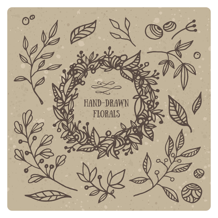 floral decoration: Hand drawn set of floral elements and wreath. Beautiful florals for your design Illustration