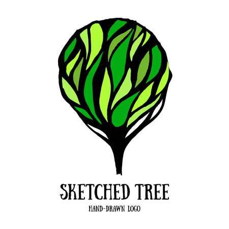 tree  forest: Hand-sketched tree logo template. Card with decorative ornate tree. Cute decoration element. Illustration