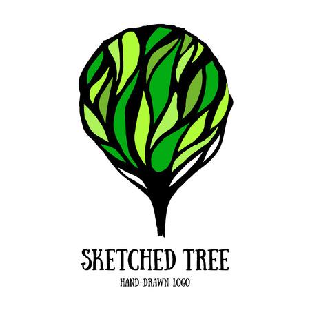 arbol de la vida: Logotipo de la plantilla del �rbol a mano esbozado. Tarjeta con �rbol decorativo adornado. Elemento de decoraci�n lindo.