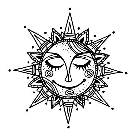ornamental: Hand drawn summer sun tribal background. Ornamental decoration, mandala, ethno, vintage ornament.