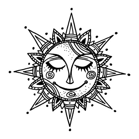 Hand drawn summer sun tribal background. Ornamental decoration, mandala, ethno, vintage ornament.