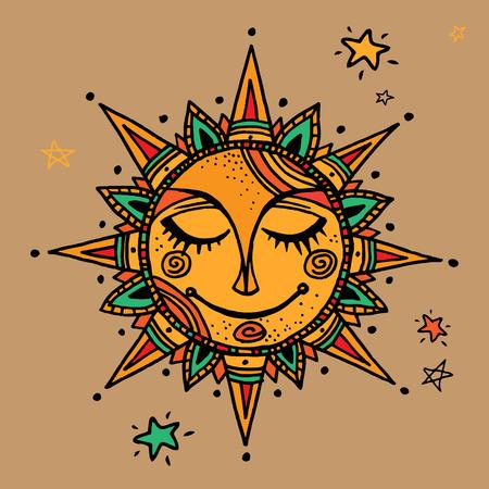 Hand drawn summer sun tribal background. Ornamental decoration, mandala, ethno, vintage ornament.