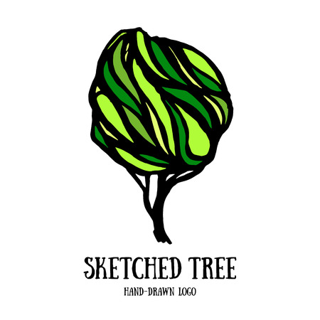 tree logo: Hand-sketched tree logo template. Card with decorative ornate tree. Cute decoration element. Illustration