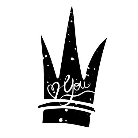 couronne à la main dessinée avec le lettrage citation - Love you. Vector design element