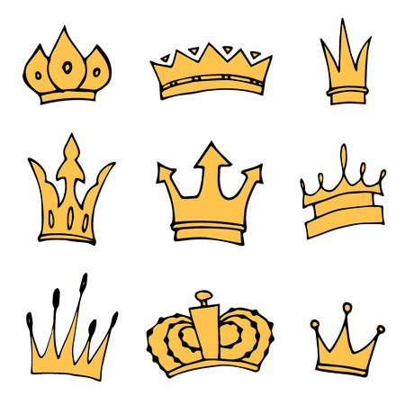 the aristocracy: Hand-drawn crowns collection. Illustration