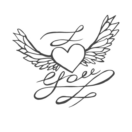 heart with wings: I love you - heart with wings. Lettering romantic quote. Hand drawn typography poster. Great for valentine and save the date card.