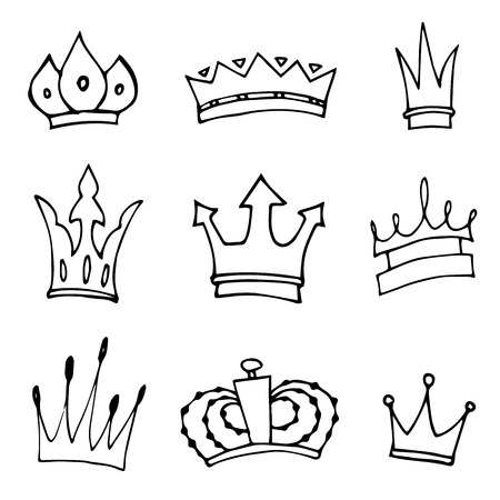 majesty: Hand-drawn crowns collection. Illustration