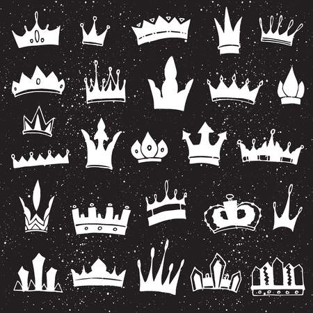 Hand-drawn crowns collection. Ink sketch. Vector design elements. Illustration
