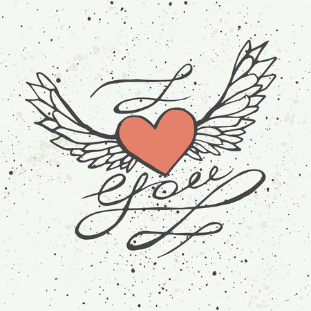 i love you heart: I love you - heart with wings. Lettering romantic quote. Hand drawn typography poster. Great for valentine and save the date card.