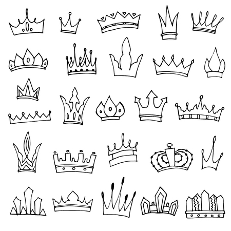 Hand-drawn crowns collection. Ink sketch. Vector design elements. 矢量图像