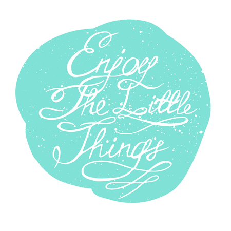 retro postcard: Enjoy the little things. Motivation lettering romantic quote. Hand drawn typography poster. Great for valentine and save the date card.