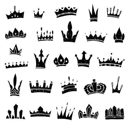 majesty: Hand-drawn crowns collection. Ink sketch. Vector design elements. Illustration