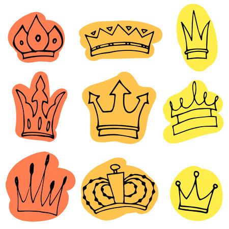 corona reina: Dibujado a mano colección de coronas. bosquejo de la tinta. Vector elementos de diseño. Vectores