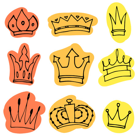 Hand-drawn crowns collection. Ink sketch. Vector design elements. Иллюстрация