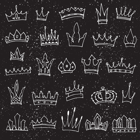 Hand-drawn crowns collection. Ink sketch. Vector design elements. 일러스트