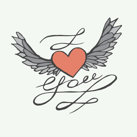 i love you heart: I love you - heart with wings. Lettering romantic quote.