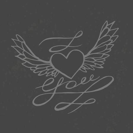 i love you heart: I love you - heart with wings. Lettering romantic quote. Hand drawn typography poster.