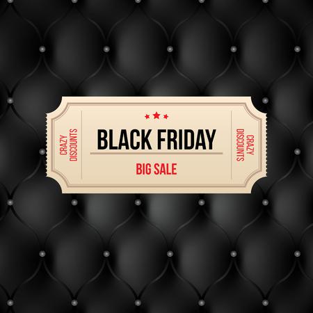 Black friday label on black leather background. Big sale crazy discounts coupon. Vetores