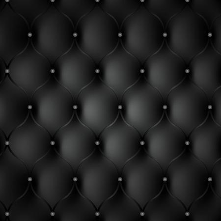 Fondo de cuero negro fotorrealista. textura de telón de fondo. Ilustración de vector