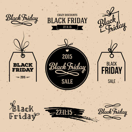 black person: Set of Black Friday labels. Retro style elements. Vintage design. Illustration