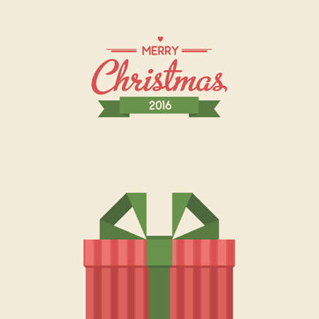 christmas gifts: Vintage greeting card with christmas gifts. Flat style illustration