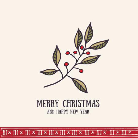 christmas postcard: Hand drawn christmas greeting card. Merry Christmas retro invitation