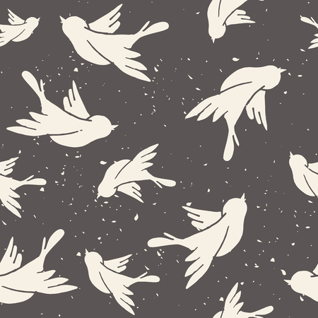 birds in flight: Seamless pattern with hand-drawn doves. Valentines day background. Illustration