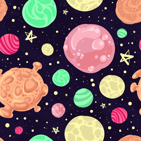 science icons: Vector seamless pattern with stars and planets. Space cartoon background.