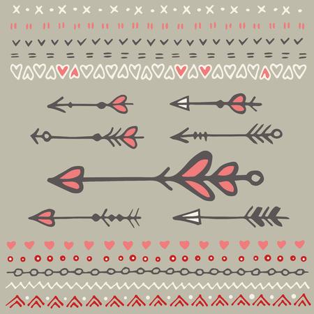 Jeu de main esquissé flèches et les frontières isolées. Vecteur éléments décoratifs. jour la décoration de la Saint-Valentin.