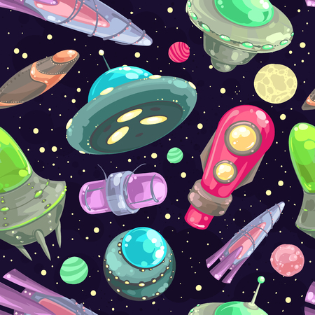 space cartoon: Vector seamless pattern with spaceships, stars and planets. Space cartoon background.