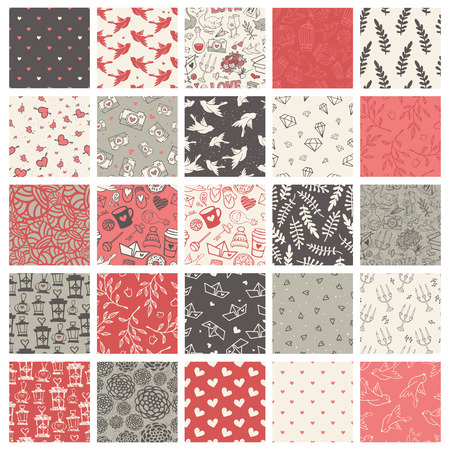 diamond candle: Beautiful set of 25 hand-sketched valentines day seamless patterns. Great for holiday decoration, wrapping paper, scrapbooking, invitation cards, etc.