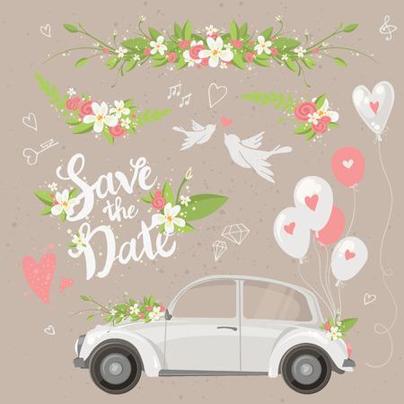 Schöne Hochzeit Clip Art Set