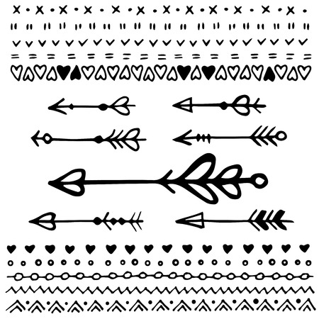 decorative line: Set of hand sketched isolated arrows and borders. Vector decorative elements. Valentines day decoration.