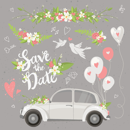 engagement cartoon: Beautiful wedding clipart set with retro car, flowers, balloons, doves and hearts. Save the date lettering. Vector illustration.