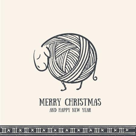 Dibujado a mano la tarjeta de felicitación de la Navidad con las ovejas lindo tejido de punto. invitación retro Feliz Navidad