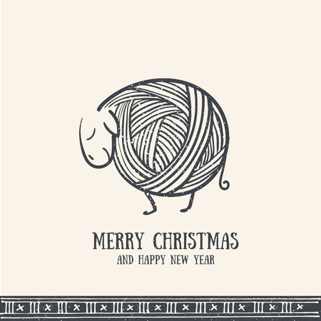 Hand drawn christmas greeting card with cute knitting sheep. Merry Christmas retro invitation