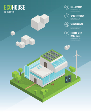 flat panel: 3d isometric eco house concept. Green home, ecology power, healthy lifestyle. Infographic vector flat illustration.