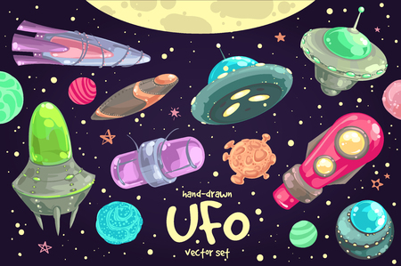 ship sky: Hand-drawn set of cartoon funny flying saucers, spaceships and UFO.
