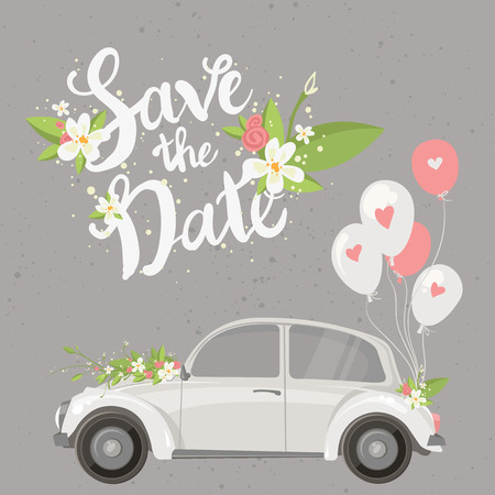 Save the date lettering card with retro car and balloons.