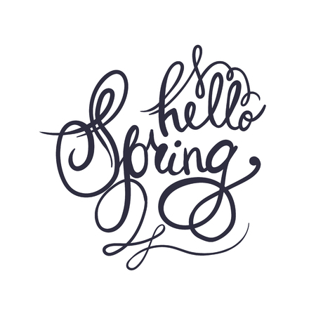 springtime: Hand lettering Hello Spring. Brush pen isolated lettering quote.